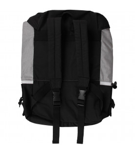 STELLA MCCARTNEY KIDS Black, grey and white kids backpack with logo