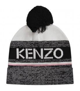 KENZO KIDS Black,white and pink girl hat with logo