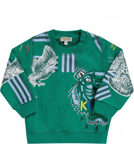 KENZO KIDS Green babyboy sweatshirt with colorful tiger and logo