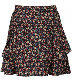 BONPOINT Black girl skirt with flowers