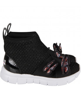 SOPHIA WEBSTER MINI Black girl socks snakers with butterfly