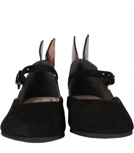 SOPHIA WEBSTER MINI Black girl flat shoes with butterfly