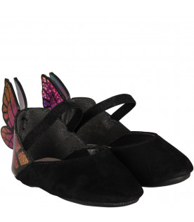 Black babygirl flat shoes with butterfly