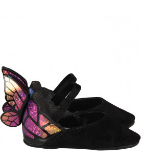 SOPHIA WEBSTER MINI Black babygirl flat shoes with butterfly