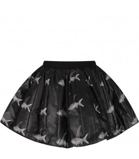 CAROLINE BOSMANS Black girl skirt with colorful fishes