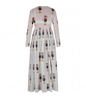 White woman dress with colorful ducks