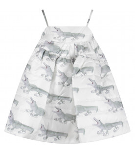 CAROLINE BOSMANS White girl dress with green crocodiles