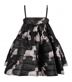 CAROLINE BOSMANS Black girl dress with sheep