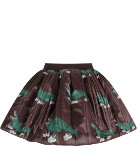 CAROLINE BOSMANS Brown girl skirt with green crocodiles