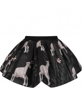 CAROLINE BOSMANS Black girl skirt with sheep