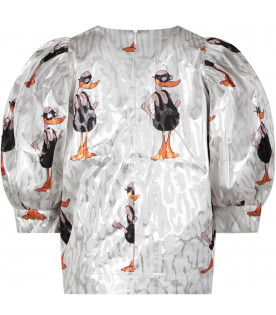 White girl blouse with colorful ducks