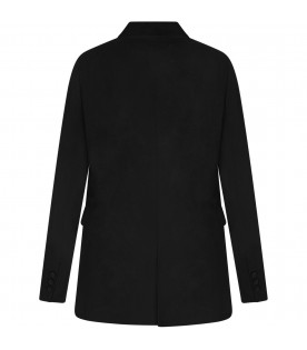 Black woman jacket with satin details