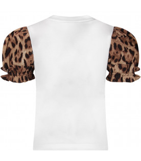 DOLCE & GABBANA KIDS White girl T-shirt with iconic leopard