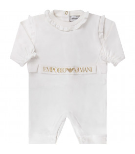 White babygirl babygrow with gold logo