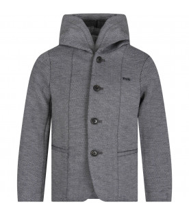 ARMANI JUNIOR Grey boy jacket with metallic logo