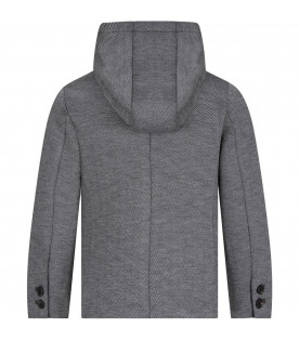 Grey boy jacket with metallic logo