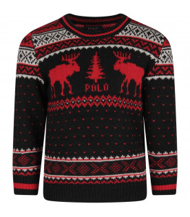 Back  boy sweater with red reindeers