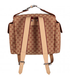 GUCCI KIDS Beige kids backpack with iconic double GG