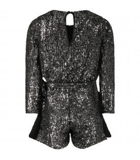 LE GEMELLINE BY FELEPPA Black girl ''Lily'' jumpsuit with sequins