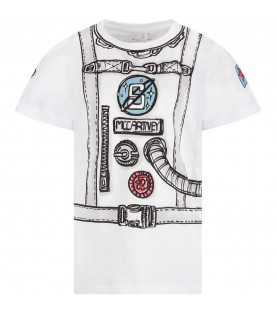White boy T-shirt with logo and print