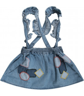 Light blue babygirl overall with colorful patches