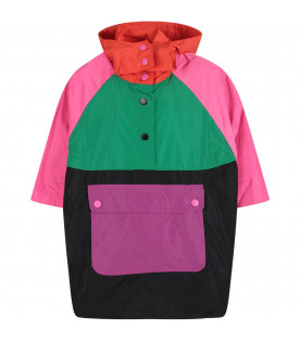 Color block girl poncho