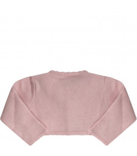 Pink babygirl cardigan with pink roses