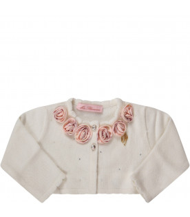 Ivory babygirl cardigan with pink roses