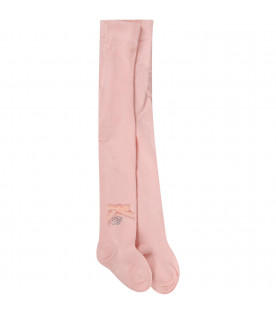 Pink babygirl stockings with bow and logo