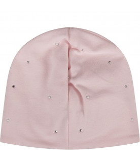 BLUMARINE BABY Pink babygirl hat with logo and roses