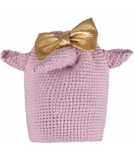 Lilac girl hat with gold bow
