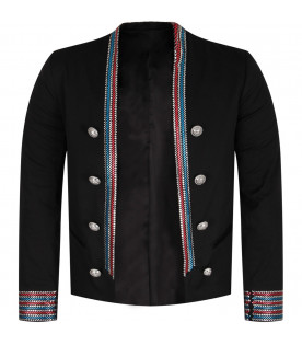 Black iconic jacket with colorful stripes for girl