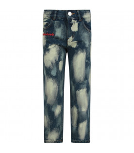 Blue kids ''Bleach'' jeans with white stylized clouds