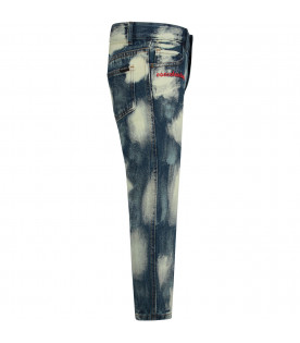 Blue ''Bleach'' jeans with white stylized clouds for boy