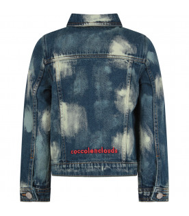 Blue ''Bleach''jacket with white stylized clouds for boy