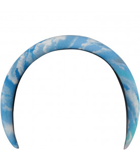 Light blue girl headband with clouds