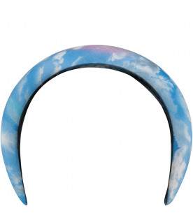 Light blue headband for girl with clouds and rainbow
