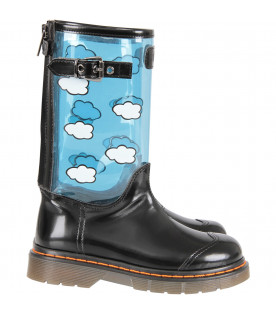Black high boot with white clouds for girl