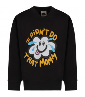 Black sweatshirt with colorful cloud for kids
