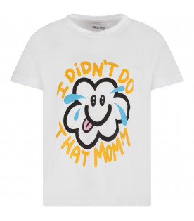 White kids T-shirt with colorful cloud