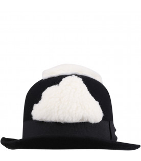 Black bowler hat for girl with clouds
