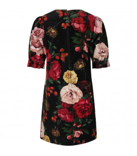 Black dress for girl with colorful baroque flowers