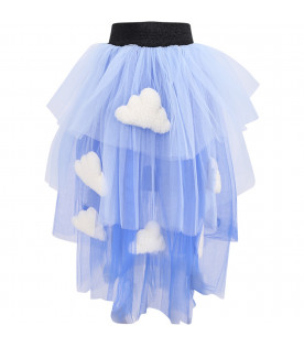 Light blue and blue girl skirt with clouds