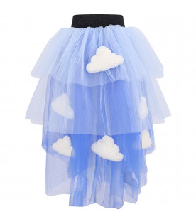 Light blue and blue skirt for girl with clouds