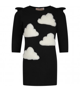 Black dress for girl with white clouds