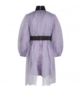 Lilac ''Elison'' girl dress with black bows
