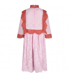 Pink ''Valentine'' girl dress with storks