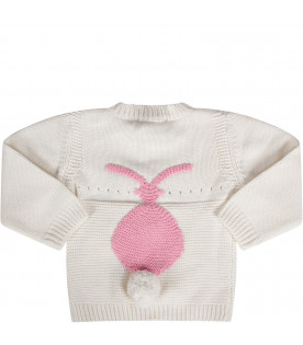 White babygirl sweater with pink bunny