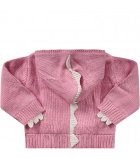 Pink babygirl cardigan wth white spikes
