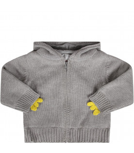Grey babykids cardigan wth yellow spikes
